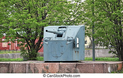 ship's cannon on the coastal fortifications, Kroshtadt,...