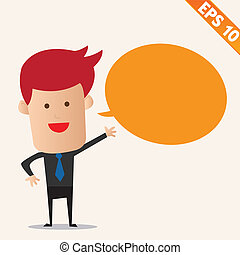 Cartoon business man with bubble - Vector illustration -...