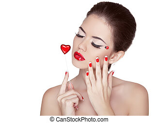 Beauty Vogue Style Fashion Model Girl with Long Lushes. Manicured nails and Red Lipstick. Isolated on a white Background.