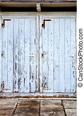 old doors with cracked paint - two old doors with cracked...