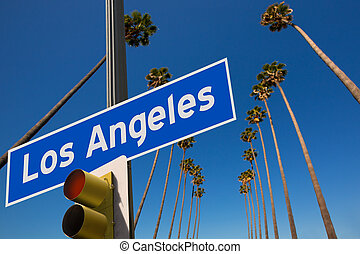 LA Los Angeles palm trees in a row road sign photo mount -...