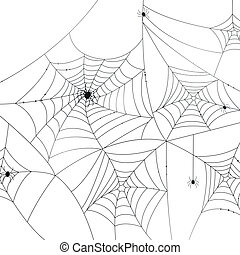 Vector Spider Webs - Vector Illustration of Scary Spider...
