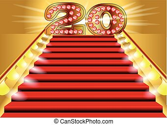 20 years anniversary. symbol on the lighted stairs