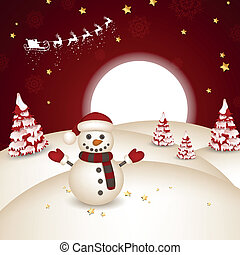 Vector Winter Landscape with Snowman