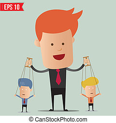Business man control the doll - Vector illustration - EPS10