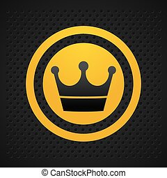 yellow circle and crown icon black