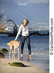 Woman walking dog.