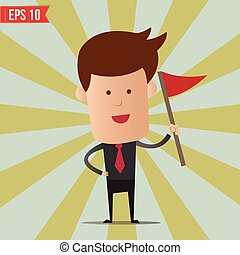 Business man holding flag - Vector illustration - EPS10