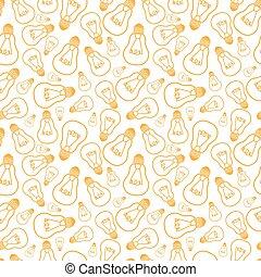 Light bulbs line art seamless pattern background - Vector...