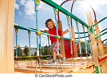 Runny on playground constraction - Happy running over the...