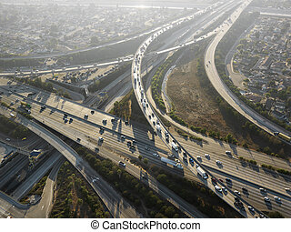 Highway interchange. - Aerial view of complex highway...