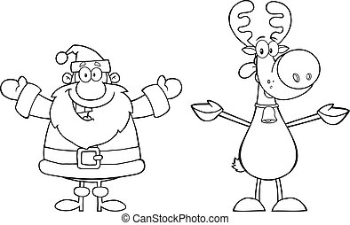 Outlined Santa Claus And Reindeer