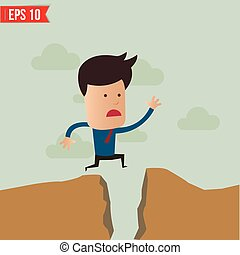 Business man jump over the hill - Vector illustration - EPS10