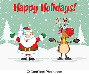 Holiday Greetings With Santa Claus And Reindeer