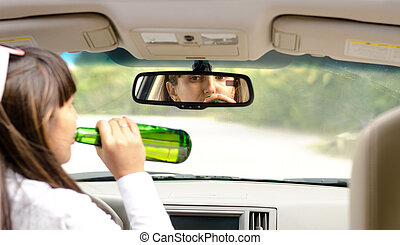 Woman driver drink driving