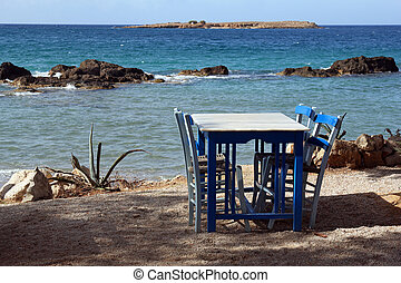 restaurant near the beautiful turquise sea in Chania, Crete
