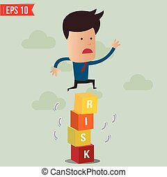 Business man jump over the risk block - Vector illustration - EPS10