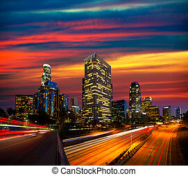 Downtown LA night Los Angeles sunset skyline California from...