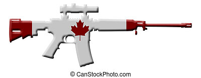 Rifle weapon in Canada - A rifle in the Canadian flag...