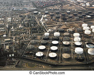 Oil refinery aerial. - Aerial view of liquid storage tanks...