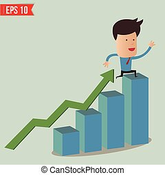 Business man fall from graph - Vector illustration - EPS10