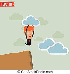 Business man jump across the hill  - Vector illustration - EPS10