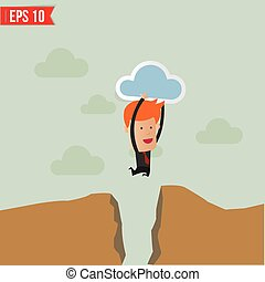 Business man jump across the hill - Vector illustration -...