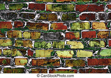 abstract wall of colored bricks - texture of abstract wall...