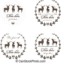 Vintage Labels Collection with Deers - Vector EPS8 animal...