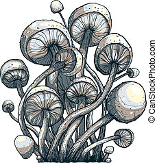 Cramped Toadstool Mushrooms Composition - Vector EPS8...