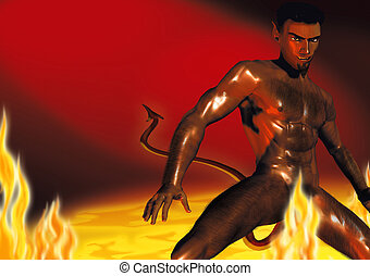 Devil in Hell - Realistic illustration of a hot devil in the...