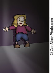Scared little girl - Drawing of a scared little girl, that...