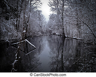 River Winter - Tranquil river landscape with snow-covered...