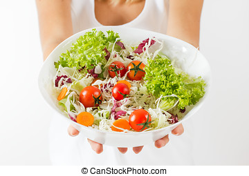 healthy food - Closeup of fresh salad in a bowl.Healthy...