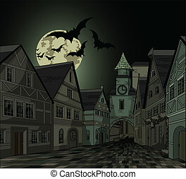 Spooky night at town - Spooky Halloween night at town