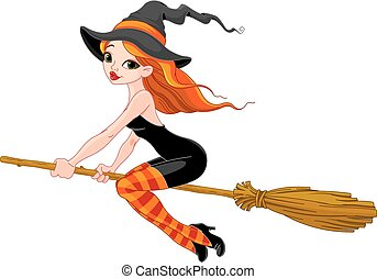Halloween Witch - Halloween Witch flying on broom