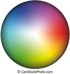 Color Wheel Brightness - Depiction of a color wheel,...