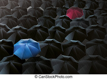 Umbrellas Drizzle - Illustration of black umbrellas in the...