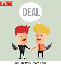 Business man hand shake  - Vector illustration - EPS10