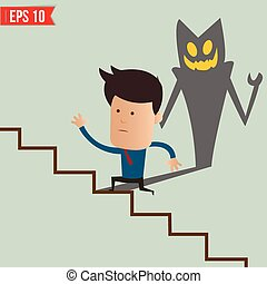 Business man running on the stair - Vector illustration - EPS10