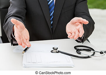Doctor waiting for a patient with hands wide opened