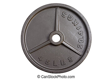 45 lbs barbell weight - 45 lbs plate isolated on white...