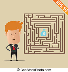 Business man finding exit route of labyrinth - Vector illustration - EPS10