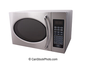 microwave oven - metallic microwave oven isolated on white