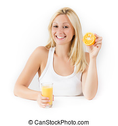Healthy young woman with orange juice