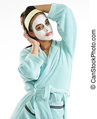 posing with mask