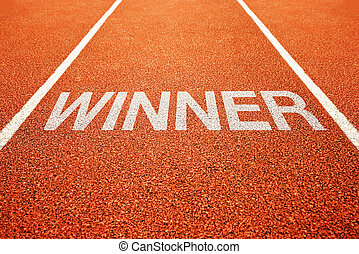 Winner track - Winner lane. Winner on athletics all weather...