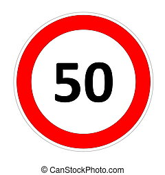 50 speed limit sign - 50 speed limitation road sign in white...