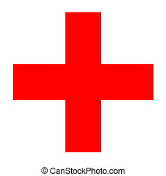Medical red cross isolated in white background