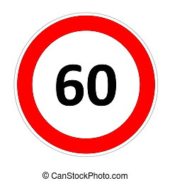 60 speed limit sign - 60 speed limitation road sign in white...